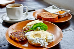 Breakfast, Egg Benedict and French toast Royalty Free Stock Image
