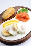Breakfast, Egg Benedict with smoked salmon Stock Photo