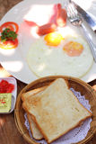 Breakfast. With egg and bread Royalty Free Stock Images