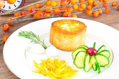 Breakfast with Egg in Fondant Baguette. Pumpkin, Cucumber stock images
