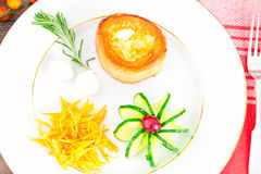 Breakfast with Egg in Fondant Baguette. Pumpkin, Cucumber royalty free stock images