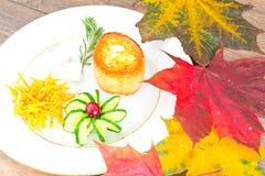 Breakfast with Egg in Fondant Baguette. Pumpkin, Cucumber stock photos
