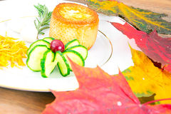 Breakfast with Egg in Fondant Baguette. Pumpkin, Cucumber royalty free stock image