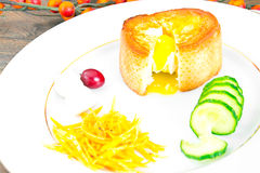 Breakfast with Egg in Fondant Baguette. Pumpkin, Cucumber royalty free stock photography