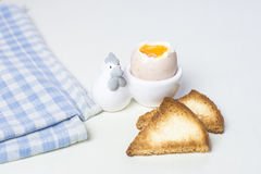 Breakfast egg and toast. Breakfast boiled egg and toast Stock Photo