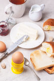 Breakfast with eggs Stock Photos