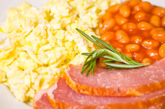 Breakfast with eggs, beans and meat Stock Photo