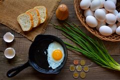 Breakfast, eggs, bread, onion Royalty Free Stock Images