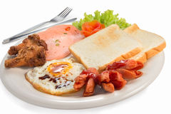 Breakfast eggs with bread Stock Image