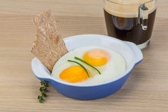 Breakfast with eggs and coffee Royalty Free Stock Photo