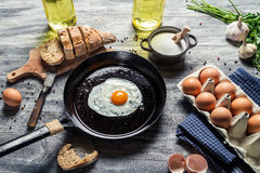 Breakfast of eggs and fresh bread Stock Photo