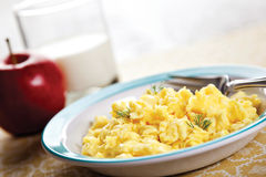 Breakfast eggs milk Stock Images
