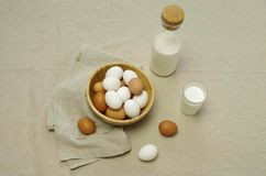 Breakfast with eggs and milk stock photos