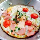 Breakfast. Eggs in pan. Easy breakfast menu in the morning stock images