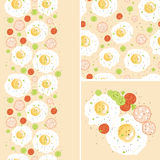 Breakfast eggs set of seamless pattern and borders Stock Photo