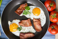 Breakfast. With eggs and some ingredients,bread,Sausage,and fresh salad Royalty Free Stock Images