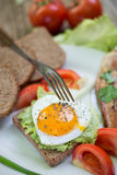 Breakfast. With eggs and some ingredients,bread,Sausage,and fresh salad Royalty Free Stock Photography