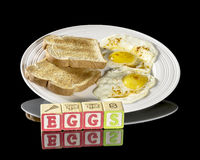 Breakfast with eggs and toas on a plate Royalty Free Stock Images