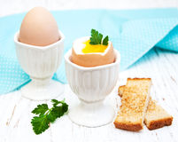 Breakfast with eggs and toast Royalty Free Stock Images