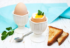 Breakfast with eggs and toast Stock Photography