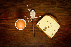 Breakfast: eggs, toast or oatmeal porridge. Choice concept Stock Image