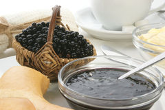 Breakfast with elderberry jam Royalty Free Stock Image