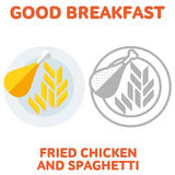 Breakfast. elements. 0111. Vector flat and line icon fried chicken and spaghetti. Branding Identity Corporate logo design template, web design, web icon, food Royalty Free Illustration