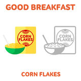 Breakfast. 1205. elements. 07. Vector flat and line icon packing box cereal and a bowl of cereal and milk. Good and healthy breakfast, diet food. Web design, web Stock Photo