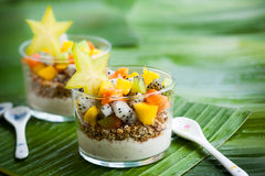 Breakfast with exotic fruits royalty free stock images