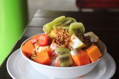 Breakfast with exotic fruits. In mexico Stock Photo