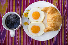 The breakfast on the fabric. stock images
