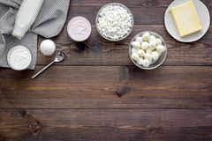 Breakfast on farm with dairy products. Milk, cottage, cheese, yougurt on wooden table top view mock-up stock photography