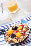 Breakfast featuring muesli and dried fruit Royalty Free Stock Images