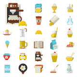 Breakfast flat color icons set Stock Image