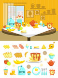Breakfast Flat Composition Set Royalty Free Stock Photography