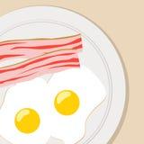 Breakfast flat  illustration eggs bacon Royalty Free Stock Photo