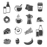 Breakfast Flat Silhouette Icon Set. Flat icon set with silhouettes of common breakfast elements food and dishes vector illustration Stock Photo