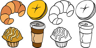 Breakfast Food. Cartoon image of different breakfast food items - both color and black / white versions royalty free illustration