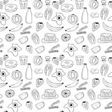 Breakfast food art pattern in vector royalty free illustration