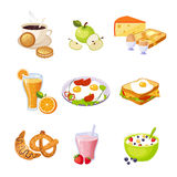 Breakfast Food Assortment Set Of  Icons. Simple Realistic Flat Vector Colorful Drawings On White Background Stock Photography