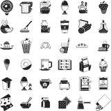 Breakfast food black icons collection. Set of 36 black flat icons for food. Desserts, bakery, drinks, dairy products and other elements of healthy breakfast Royalty Free Stock Photos
