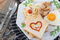 Breakfast food with bread,Morning foor Royalty Free Stock Photography