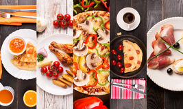 Breakfast food collage Royalty Free Stock Photo