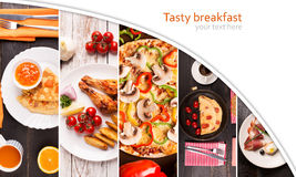 Breakfast food collage Stock Photos