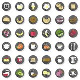 Breakfast food drink modern icon set Royalty Free Stock Image