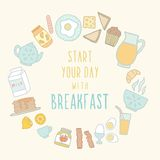 Breakfast food and drink. Vector EPS 10 hand drawn illustration Stock Images