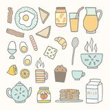 Breakfast food and drink. Vector EPS 10 hand drawn isolated objects Royalty Free Stock Photos