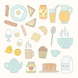 Breakfast food and drink. Vector EPS 10 hand drawn isolated objects Royalty Free Stock Photography