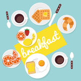Breakfast food and drinks in flat style. Vector illustration Royalty Free Stock Photography