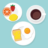 Breakfast food and drinks in flat style. Vector illustration stock illustration